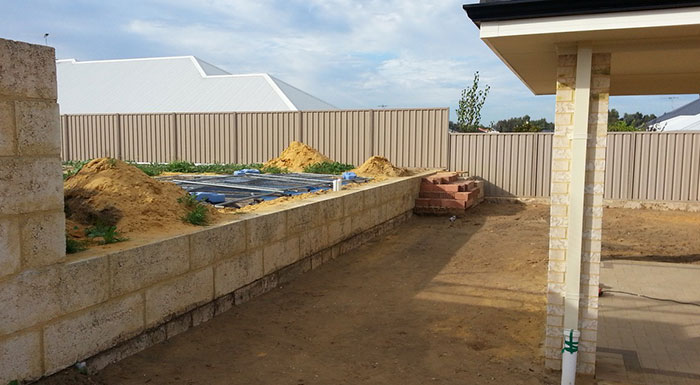 Cement Panel and Post Retaining walls